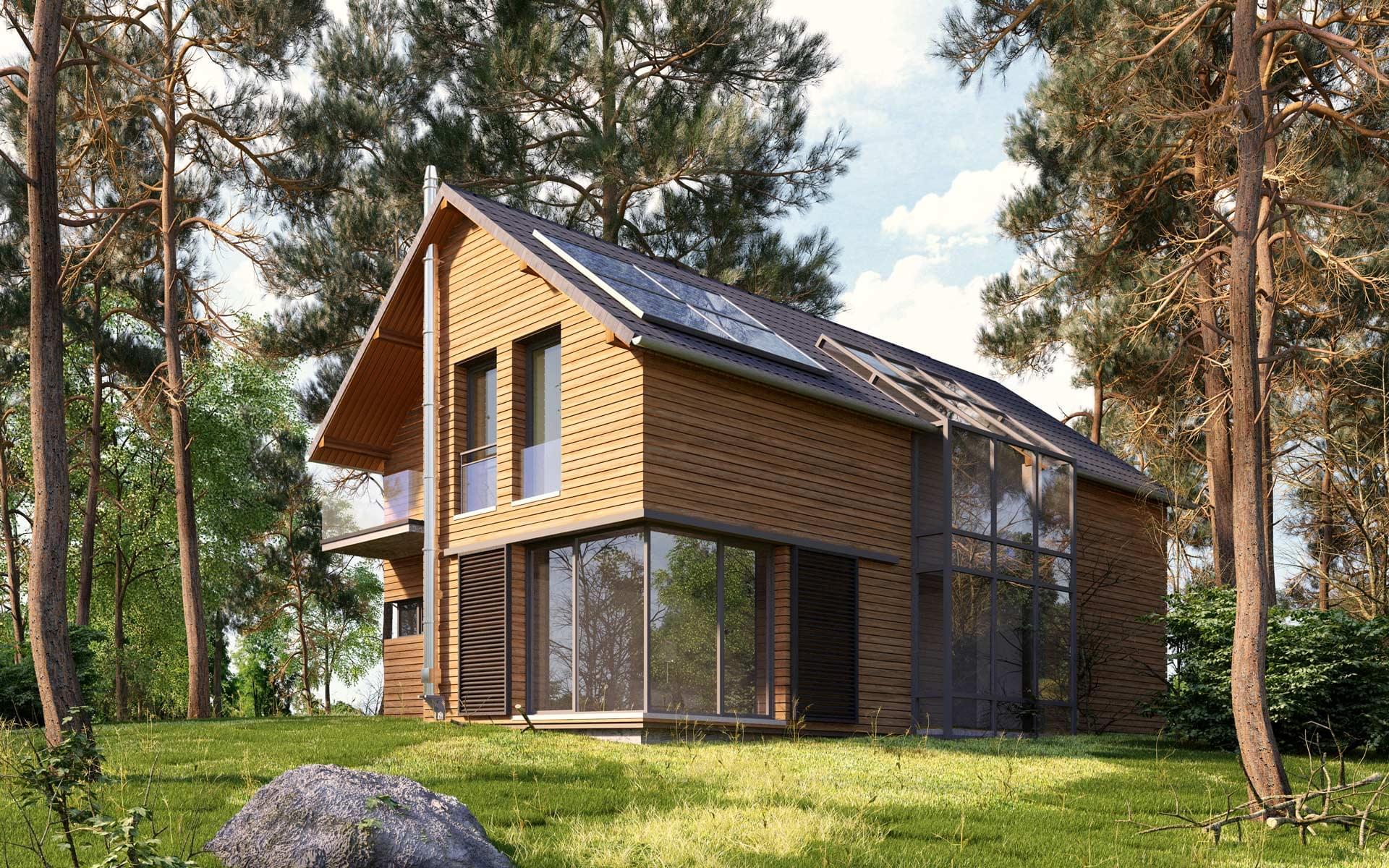 Dom piętrowy drewniany wśród drzew
